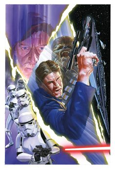 """Star Wars: """"Star Wars - Limited Edition Giclée on Paper by Alex Ross Poster featuring Han Solo and Chewbacca. Darkhorse Comics, Alex Ross, Marvel Comics, Star Wars Comics, Comics Uk, Star Trek, Star Wars Art, Chewbacca, Comic Book Artists"""