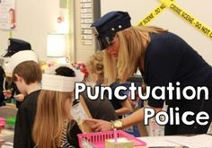 """I have had this idea swirling in my head since the beginning of the year that I was going to turn my classroom in to a crime scene where students have to be """"punctuation police"""". Kim Bearden does grammar police at RCA and when I went back last week, I just knew that I was going to want to do it"""