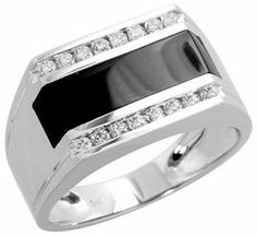 Mens Diamond Ring, Mens Wedding Ring, Wedding Jewelry, Mens Ring, Black Onyx Ring, 0.36 Ct. Diamonds, 14K White Gold
