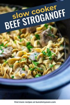 SLOW COOKER BEEF STROGANOFF is the comfort food recipe you didnt know you needed! So simple to toss together and it comes out so creamy. My family loves crockpot meals like this. Slow Cooker Ribs, Slow Cooker Recipes, Crockpot Recipes, Cooking Recipes, Slow Cooking, Ham Recipes, Broccoli Recipes, Healthy Recipes, Noodle Recipes