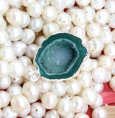 An-3319 Sale! Green Geode Druzy Sllver Plated Handmade Connector Jewelry Making #Handmade