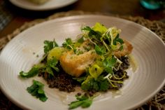 Southern Sophisticate: Nashville's New & Notable Dining Options-- the most indulgent light dish you can order in Music City. Cobia, Lentils, Meyer Lemon, Herb Salad. Beyond delicious @MOTONashville