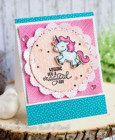 Houses Built of Cards: Magical Unicorn! Unicorn Birthday Cards, Kids Birthday Cards, Handmade Birthday Cards, Greeting Cards Handmade, Unicorn Cards, Atc Cards, Cricut Cards, Horse Cards, Rainbow Card