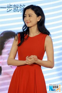 Chinese actress Gao Yuanyuan attends a cosmetics promotion fair in Chongqing, China on December 30, 2014