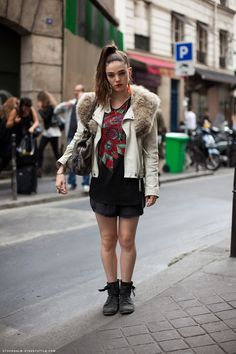 Julia in a punk luxury style. Biker jackets coming in white…