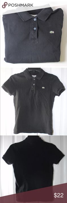 68d2c5516 Lacoste Women s Size 40   US 8 Black Polo w Gator The shirt measures 15  inches