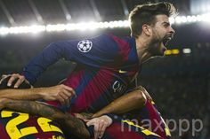 #BarcaBayern ©ALEJANDRO GARCIA/EPA/MAXPPP - Barcelona's Gerard Pique (top) celebrates with teammates after the 3-0 goal during the UEFA Champions League semifinal first leg match between FC Barcelona and Bayern Munich at Nou Camp stadium in Barcelona, Spain, 06 May 2015. #foot #football #championsLeague #sport #Barca #victoire #coupedeurope #photojournalisme #photooftheday #picoftheday #soccer #24heuresphotos