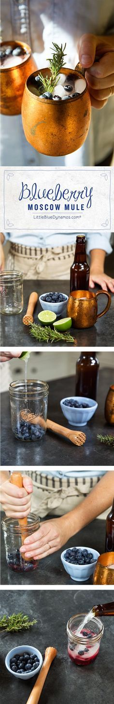 Its finally the weekend, cool of with this easy to make this Blueberry Rosemary Moscow Mule (Cool Whip Smoothie) Summer Drinks, Cocktail Drinks, Fun Drinks, Cocktail Recipes, Alcoholic Beverages, Drink Recipes, Cocktail List, Fun Cocktails, Vodka