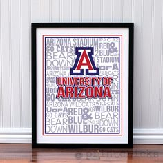 Personalized University of Arizona Watermarked Typography Poster Print - 16 x 20. $35.00, via Etsy.