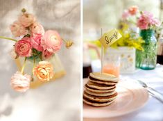 Pancake Breakfast: Looks so serine--I might steal this idea for a Saturday morning breakfast party Breakfast Pancakes, Pancakes And Waffles, Breakfast Picnic, Birthday Breakfast, Morning Breakfast, Pancake Party, Pancake Shop, Wedding Brunch Reception, Sweets Recipes