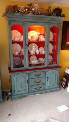Rust-Oleum farmhouse red, Rust-Oleum milk paint on outside with Rust-Oleum smoked glaze Chalk Paint Cabinets, Painting Cabinets, Reupholster Furniture, Trash To Treasure, Milk Paint, Crafty Projects, Repurposed, Glaze, Rust