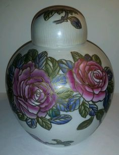 BEAUTIFUL FLORAL GINGER JAR W / LID in Collectibles, Cultures & Ethnicities, Asian | eBay