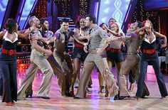 Kym Johnson in group Swing dance with cast of Season 4.