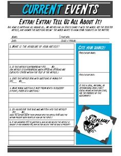 Keep your classroom up to date with students reporting on current events. Current Events Worksheet for Middle & High School - FREE- Four pages total. 6th Grade Social Studies, Social Studies Classroom, Teaching Social Studies, Teaching History, School Classroom, Classroom Ideas, Future Classroom, Geography Classroom, Teaching Geography
