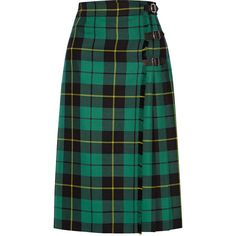 Gucci Pleated tartan wool midi skirt (9,715 CNY) ❤ liked on Polyvore featuring skirts, jade, gucci, green skirt, tartan midi skirt, wool tartan skirt and wool skirt