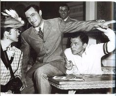 Gene Kelly and Frank Sinatra, behind the scenes of 'Take Me Out to the Ball Game' (1949).