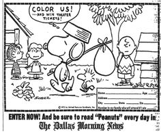 soppy Coloring Pages | SNOOPY, COME HOME Movie Coloring Contest, 1972