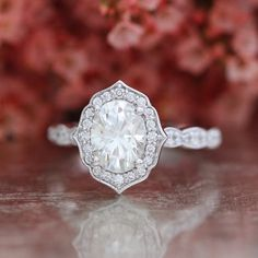 Forever One Moissanite Vintage Floral Engagement Ring in 14k White Gold Scalloped Diamond Wedding Band 8x6mm Oval Cut Gemstone Ring