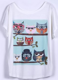Shop White Short Sleeve Owl Family Print Loose T-Shirt online. SheIn offers White Short Sleeve Owl Family Print Loose T-Shirt & more to fit your fashionable needs. Owl Family, Family Print, Cute Summer Outfits, Cool Outfits, Owl Clothes, T Shirt Picture, Batman Outfits, Owl Print, Lounge Wear