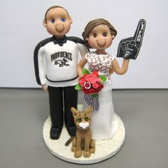Reserved for Melissa  balance due for custom Wedding Cake Topper with hockey jersey and cat by clayinaround on Etsy
