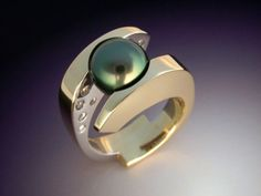 Tahitian Black Pearl and Diamond ring in by Metamorphosisjewelry, $5790.00