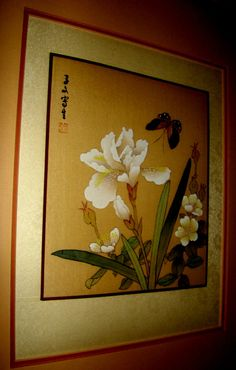 Exquisite Vintage Oriental Original Japanese Silk Watercolor Painting – Signed by Artist in calligraphy, seal stamped, Stunning Framing