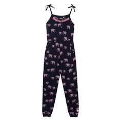 This jumpsuit from Mantaray will make a stylish and practical addition to a girl's everyday wardrobe. In navy, it features a pink elephant print with large stitched detail, finished with a comfortable elasticated waistband for a secure fit.