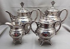 Victorian Aesthetic Repousse Meriden Quadruple Silverplate Tea Set With Birds