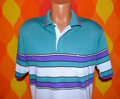 vintage 80s golf shirt polo PENGUIN stripe grand slam munsingwear Large XL teal purple
