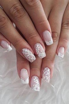 Summer Toe Nails, Summer Acrylic Nails, Cute Acrylic Nails, Glitter Nail Art, Lace Nail Art, Elegant Nail Designs, Elegant Nails, Neutral Nail Art, Plaid Nails