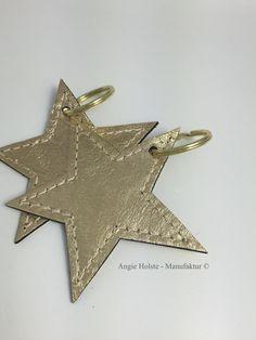 Schlüsselanhänger Stern in silber von Angie Holste - Manufaktur © Accessoires aus Leder auf DaWanda.com
