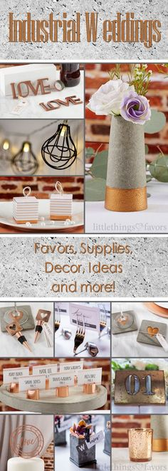 #Industrial #Wedding Theme - super trendy. Check out some of our brand new industrial wedding favors. Copper, concrete, metal, exposed brick. #Industrial