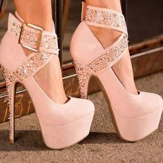 Light pink stilettos with hidden platform soles and sparkling buckled ankle straps and heels pink Shoes With Sexy Heel and stud Design high heel shoes for women Pretty Shoes, Beautiful Shoes, Cute Shoes, Me Too Shoes, Awesome Shoes, Pink High Heels, Womens High Heels, Pink Pumps, Sexy Heels