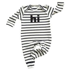 "by Organic Zoo  A soft and sweet long sleeve one piece featuring a ""hi"" message.  DETAILS: 100% organic cotton"