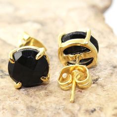 H267 Monsoon Sale Black Onyx 24k Gold Plated Prong Setting Stud Earring Jewelry #Handmade #DropDangle #CasualParty