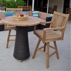 Anderson Teak Round Bar Table w/ Wicker Leg and 2 Rialto Swivel Bar Armchairs - Home Bars USA - 1 Round Bar Table, Bar Table Sets, Bar Tables, Outdoor Patio Bar Sets, Outdoor Tables, Dining Room Table Chairs, Ikea Chairs, Pub Set, Wood Patio