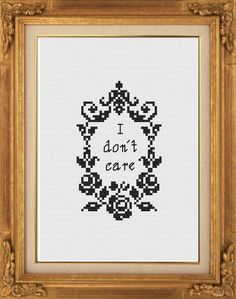 PDF Pattern I don't care by NaughtyLittleStitch on Etsy, €3.50