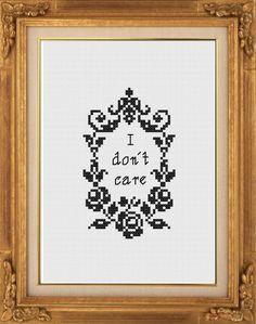 Subversive cross stitch: PDF Pattern: I don't care - by NaughtyLittleStitch on Etsy, €3.50