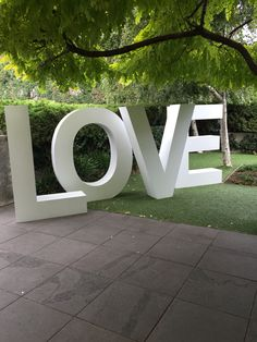 Large LOVE letters by Love Headquarters at Brighton International Hotel - #bmflorist