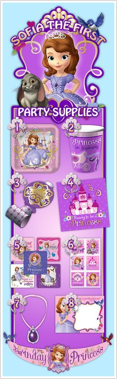 Sofia The First Party Supplies First Look! - Here are eight items from the new Sofia the First party supplies line featuring Disney's newest and youngest princess.