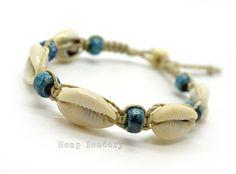 Hemp Anklet Bracelet, Cowrie Shell Anklet, Beach Anklet, Glass Crow Beads, Beaded Anklet, Hemp Anklets