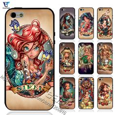Tattoo Princess Zombie Case for Iphone5 5s The Little Mermaid for Iphone 5 5s Case Princess Soft TPU Edges + Hard PC Back Cover
