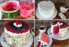This looks good and soo delicious. I'd recommend the Paleo version  Ingredients: Whipped cream or Coconut Whipped cream (Paleo Version) 1 Large Watermelon cut in a circle like a cake  Blueberries Raspberries Almonds  Instructions: Cut your watermelon based on the photo tutorial in the post. Pat the watermelon down with wipes to dry it. Frost it with whipped cream Add Almonds to the side Decorate the top with fresh fruit of your choice. I like raspberries and blueberries.
