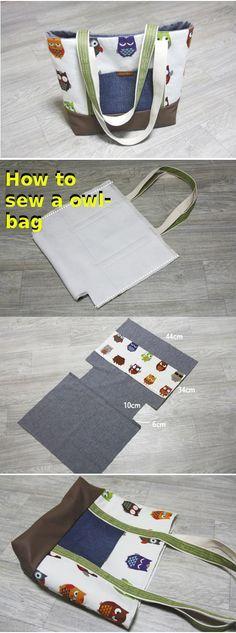 Easy step to step owl texture bag tutorial.  http://fastmade.blogspot.com/2016/04/simple-pretty-owl-bag-tutorial.html