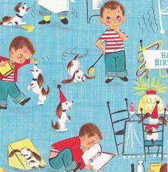 Vintage Gift Wrap - Ambassador - Little Boy - Birthday Retro Party, Vintage Party, Vintage Gifts, Illustrations Vintage, Vintage Artwork, Retro Birthday, Boy Birthday, Happy Birthday, Birthday Cards