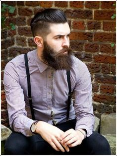 Gelled slicked #hair and a full beard with a #mustache are completely #sexy.
