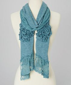 Take a look at this Aqua Rosette Linen-Blend Lace Scarf by Pretty Angel on #zulily today!