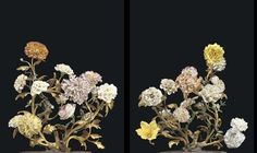 A PAIR OF LOUIS XV ORMOLU, BRONZE AND FRENCH PORCELAIN FLOWE