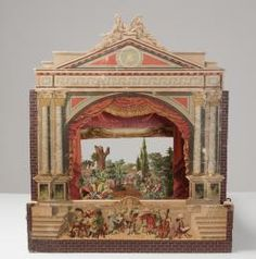 A7746 Children's paper theatre, proscenium arch, sets, scenery, characters and manuscript for Hansel and Gretel, with box, paper / wood, made by Johann Ferdinand Schreiber, Esslingen / Munich, Germany, 1880 -1890 - Powerhouse Museum Collection at http://www.powerhousemuseum.com/collection/database/?irn=193875=306033#