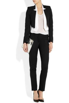 Karl | Jane double-lapel wool-blend twill jacket | NET-A-PORTER.COM